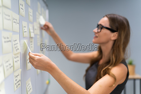 businesswoman arranging sticky notes