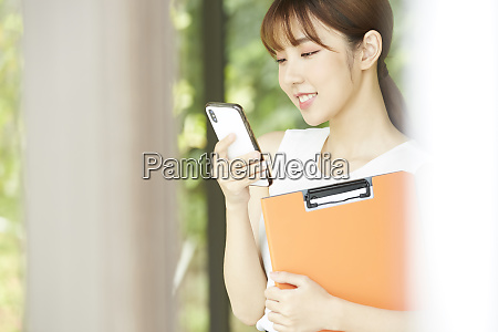 business woman smartphone