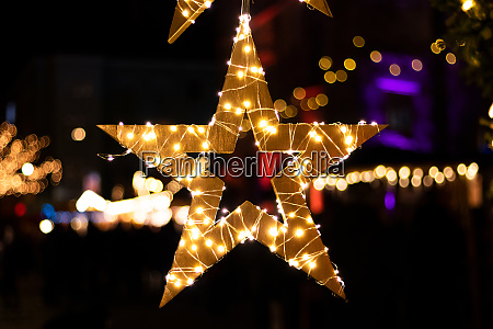 christmas star with lights and great