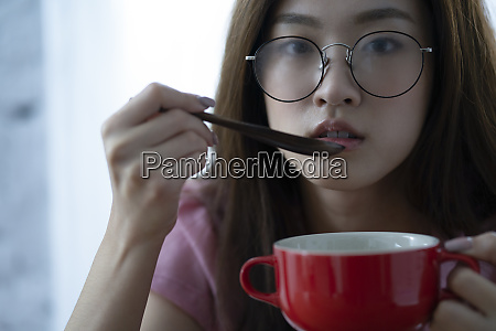 woman waking up meal