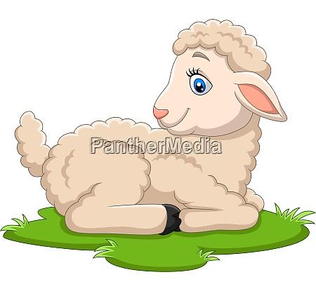 cartoon happy lamb sitting on the