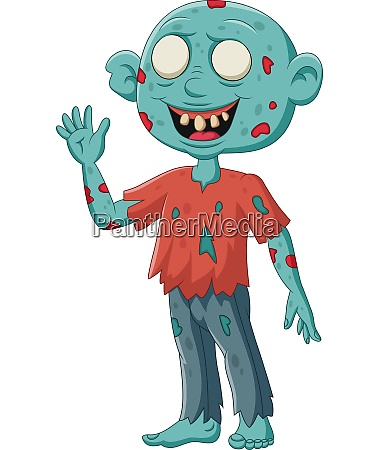cartoon zombie stand waving on white
