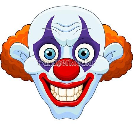 cartoon scary clown head on white