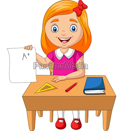 cartoon little girl holding paper with