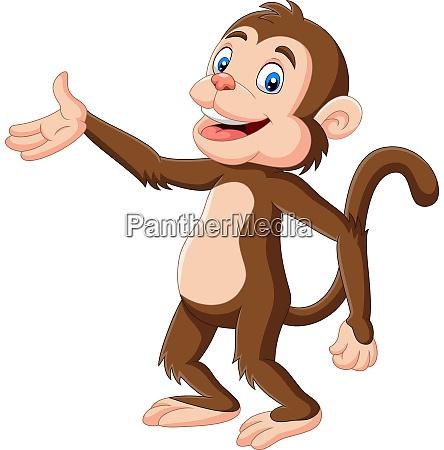 cartoon happy monkey presenting on white