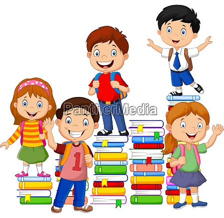 happy schoolkids playing with stack of
