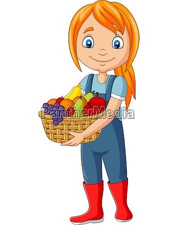 cute happy girl harvest fruit