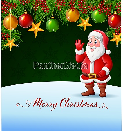 christmas background with santa claus waving