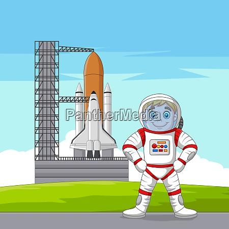 cartoon astronaut with spaceship ready to
