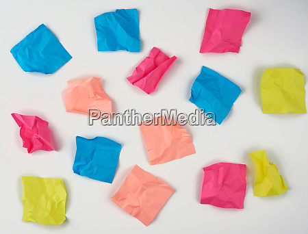 multicolored blank crumpled paper stickers