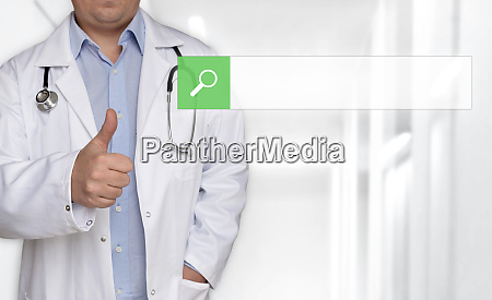 browser concept and doctor with thumbs