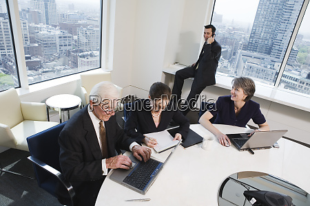 view of businesspeople working in an