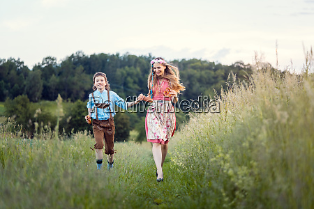 mother and son in bavaria running