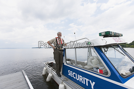 security boat patrolling public water supply