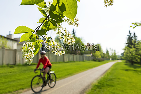 female cyclist along pathway in residental