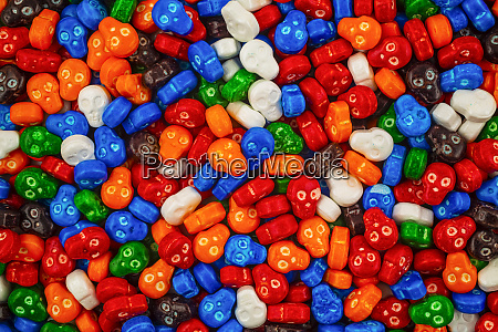 colourful pile of skull candies in