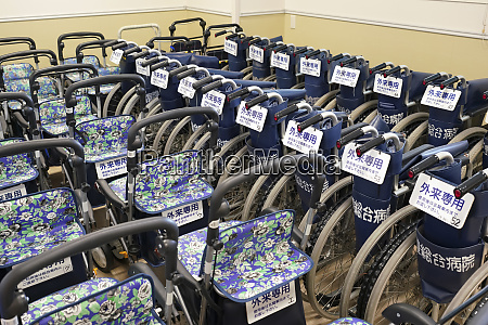 many wheelchairs in the hospital