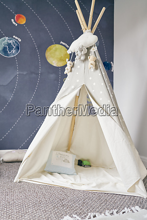 childs teepee mural of solar system