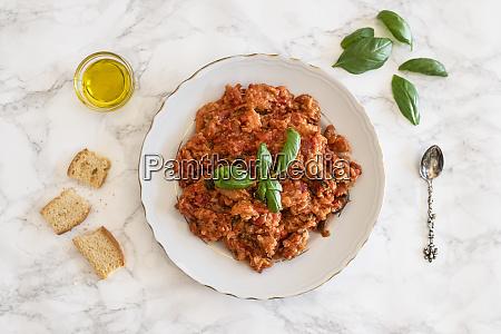 plate of pappa al pomodoro tuscan