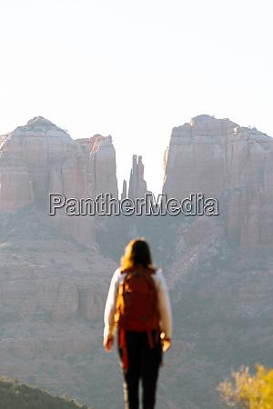 backpacker admiring view cathedral rock sedona
