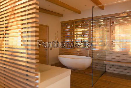 soaking tub and shower surrounded by