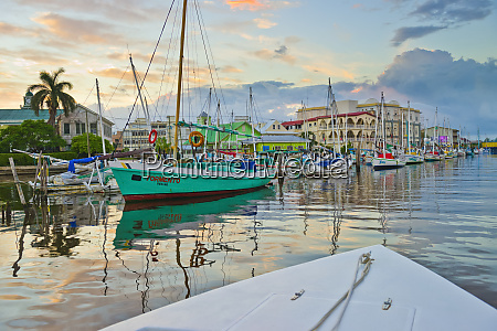 colourful waterfront of belize city at