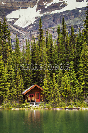 wooden log cabin on a lake