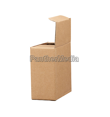 open brown square cardboard box for
