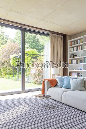 modern living room with sliding doors