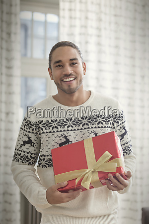 portrait smiling young man in christmas