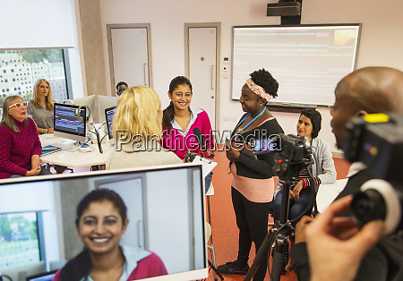 community college students filming in media