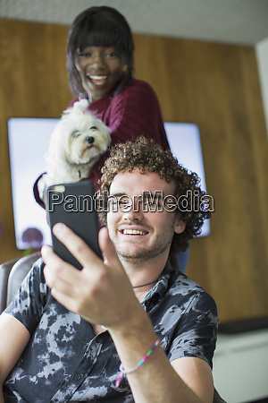 happy young couple with dog video
