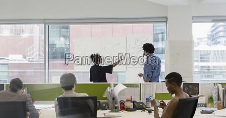 business people brainstorming in open plan