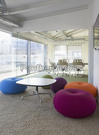 multicolor cushions in creative office space