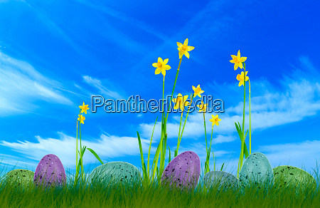 colorful painted easter eggs on grass