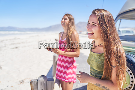 happy, young, women, friends, laughing, on - 28130405