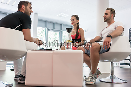 woman and man having introduction interview