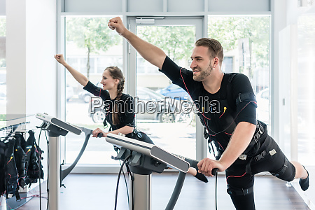 two sportive people having training session