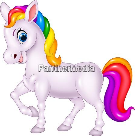 cartoon rainbow horse isolated on white