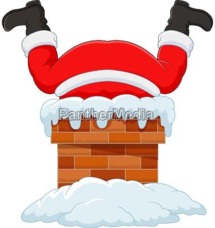 cartoon santa claus stuck in the
