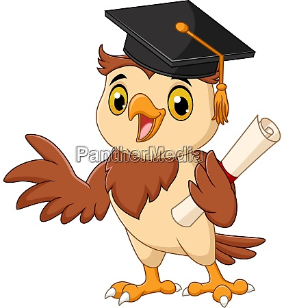cartoon owl wearing graduation cap holding