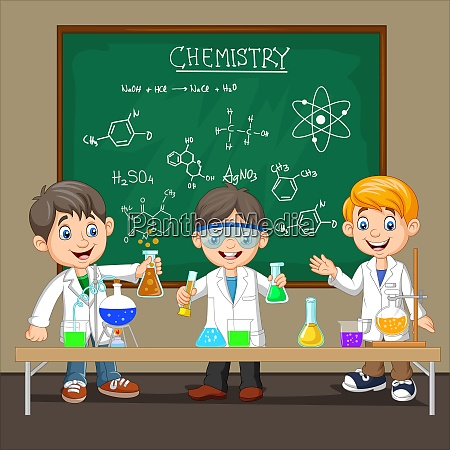 group of scientist boy doing chemical