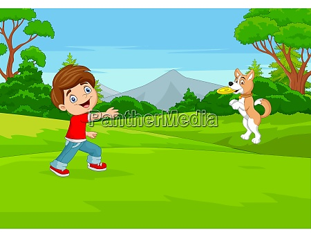 cartoon boy play flying disc with