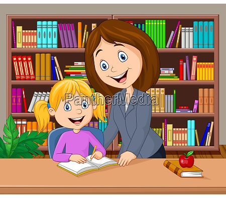 teacher helping pupil studying in the