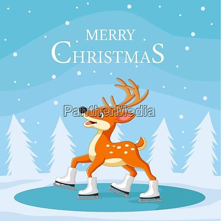 christmas reindeer skating on ice
