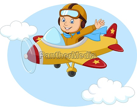 cartoon little boy operating a plane