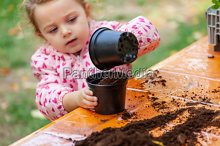 view of toddler child planting young