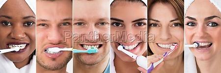 brushing teeth collage
