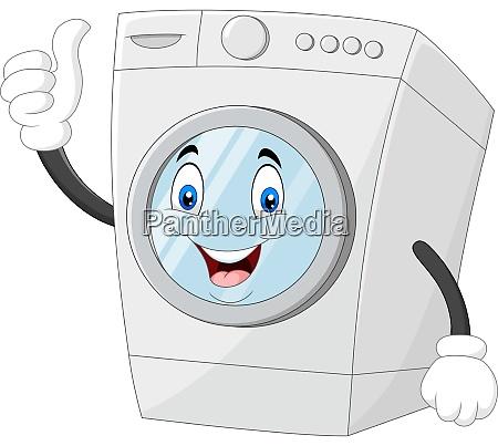washing machine mascot giving thumbs up