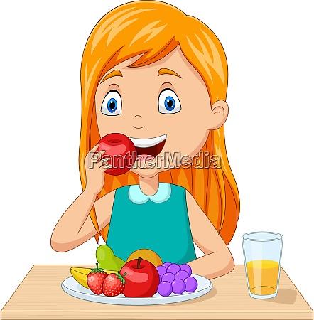little girl eating fruits at the